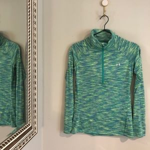 Under Armour   Semi Fit Green & Blue Long Sleeve